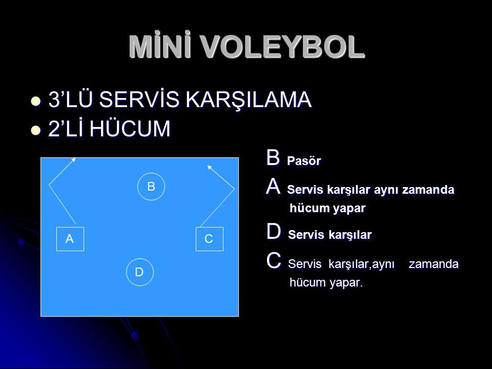 MİNİ VOLEYBOL 3'LÜ SERVİS KARŞILAMA 2'Lİ HÜCUM B Pasör