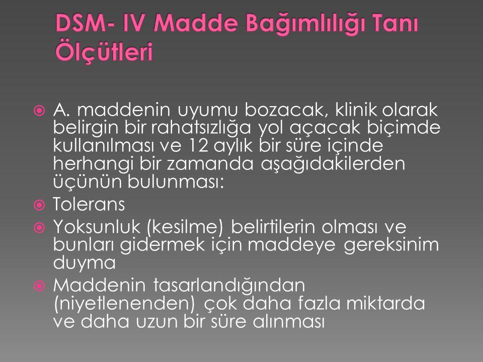 DSM- IV Madde Bağımlılığı Tanı Ölçütleri