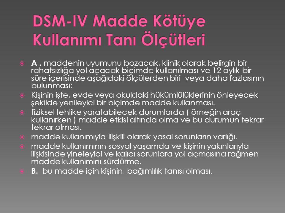 DSM-IV Madde Kötüye Kullanımı Tanı Ölçütleri