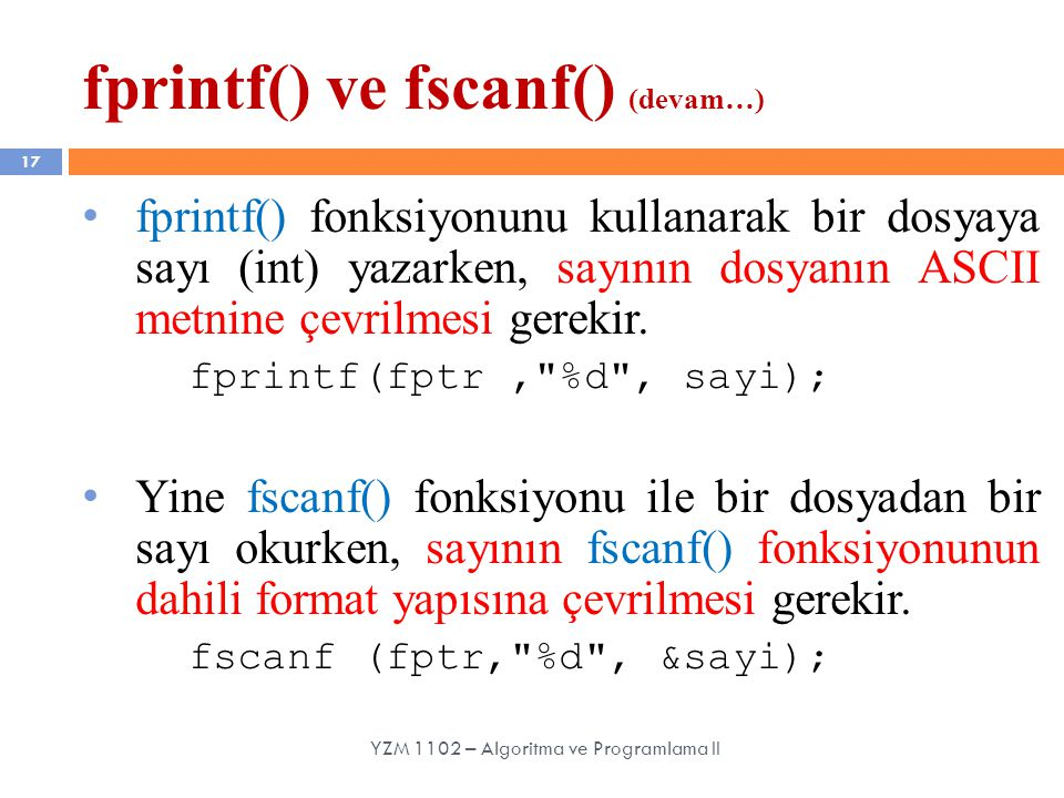 fprintf() ve fscanf() (devam…)