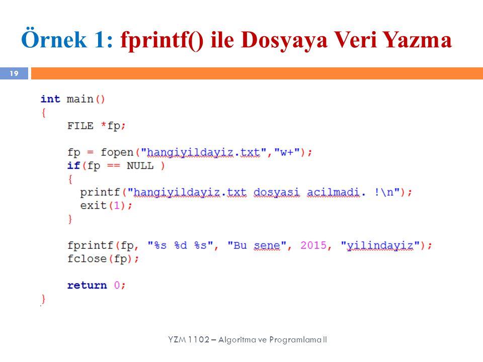 Örnek 1: fprintf() ile Dosyaya Veri Yazma