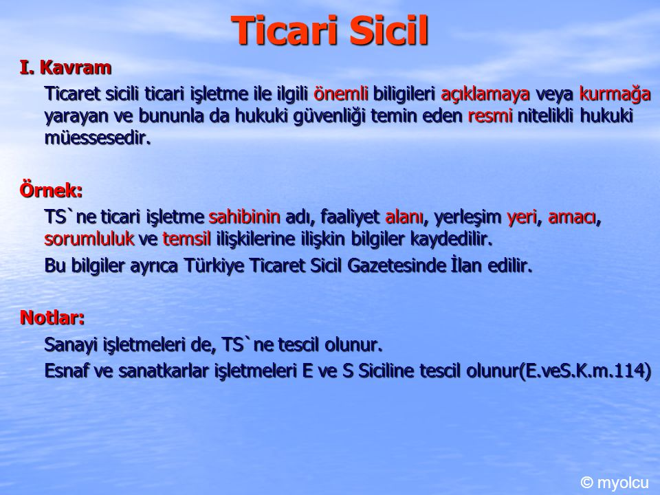 Ticari Sicil I. Kavram.