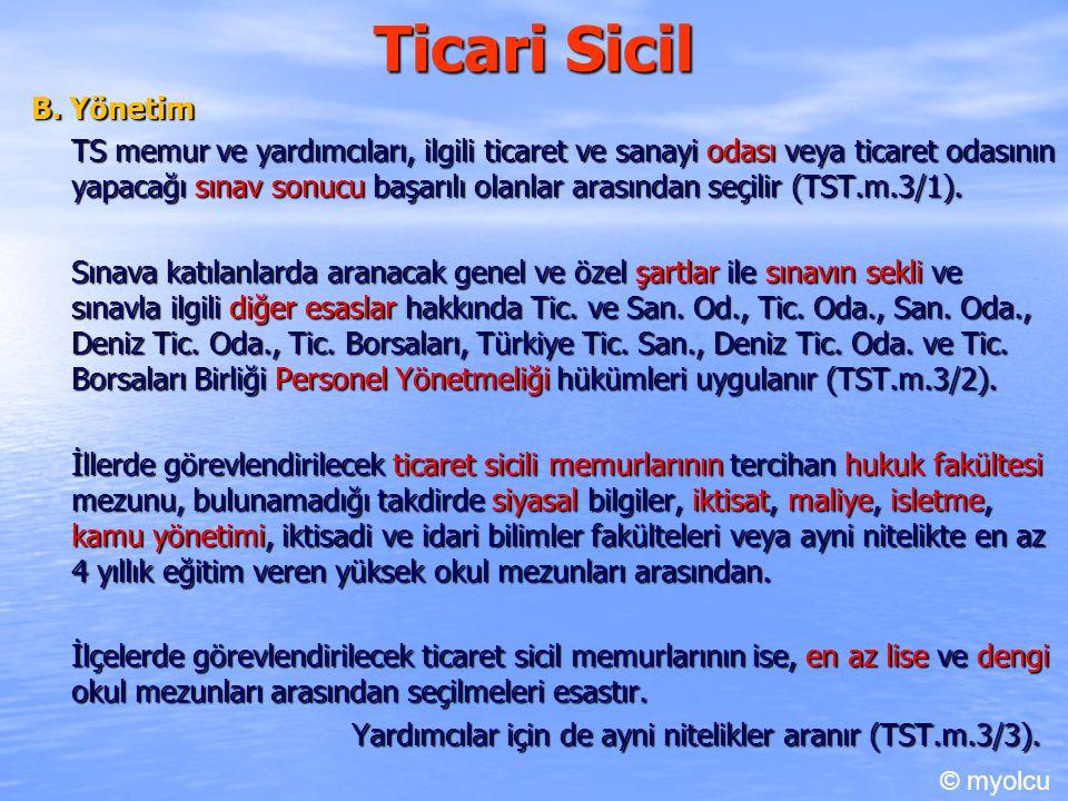 Ticari Sicil B. Yönetim.