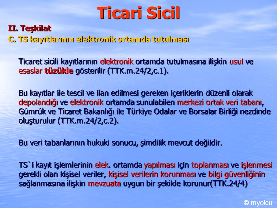 Ticari Sicil II. Teşkilat
