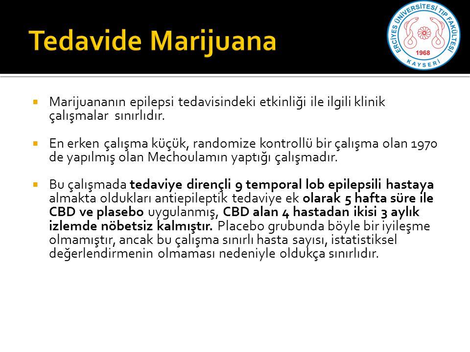 Tedavide Marijuana Marijuananın epilepsi tedavisindeki etkinliği ile ilgili klinik çalışmalar sınırlıdır.
