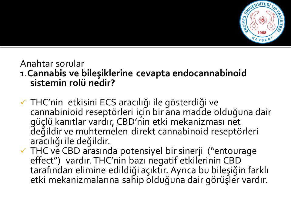 Anahtar sorular 1.Cannabis ve bileşiklerine cevapta endocannabinoid sistemin rolü nedir