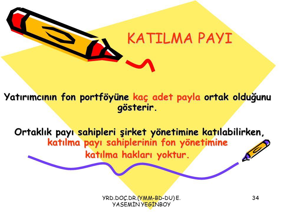 KATILMA PAYI Yatırımcının fon portföyüne kaç adet payla ortak olduğunu gösterir.