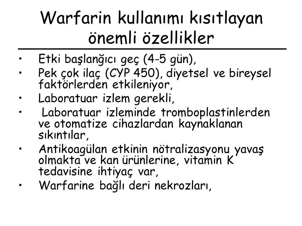 Warfarin kullanımı kısıtlayan önemli özellikler