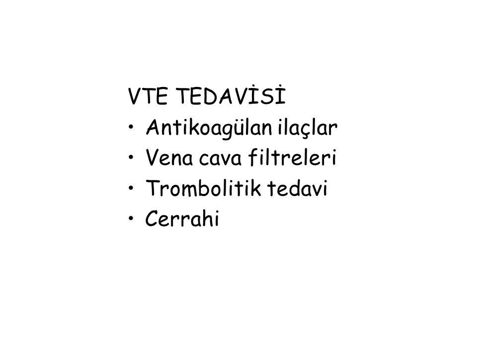 VTE TEDAVİSİ Antikoagülan ilaçlar Vena cava filtreleri Trombolitik tedavi Cerrahi