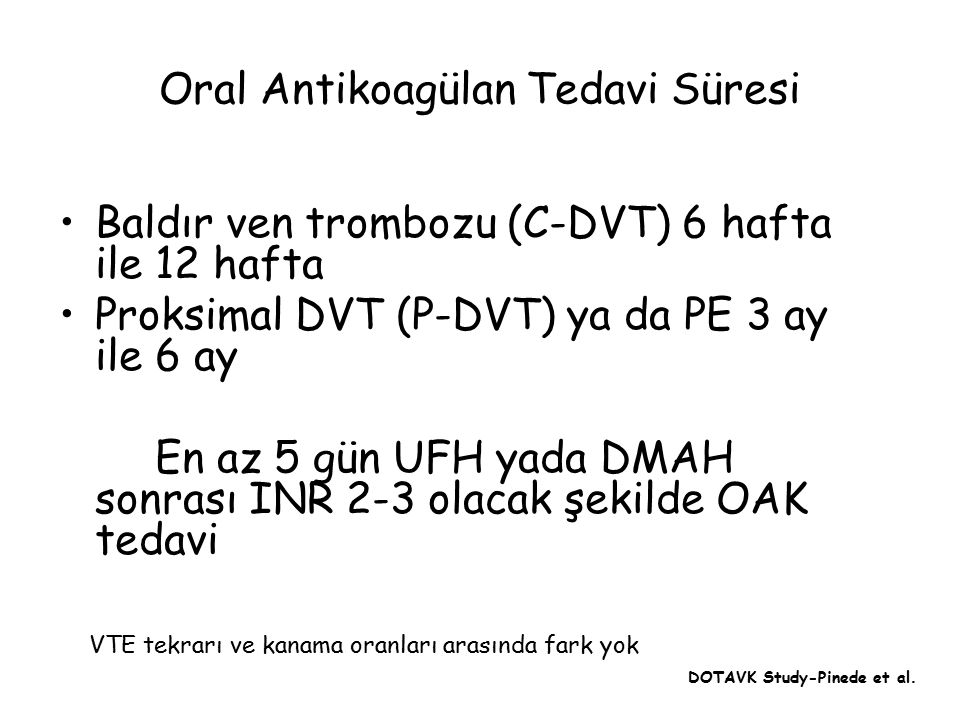 Oral Antikoagülan Tedavi Süresi
