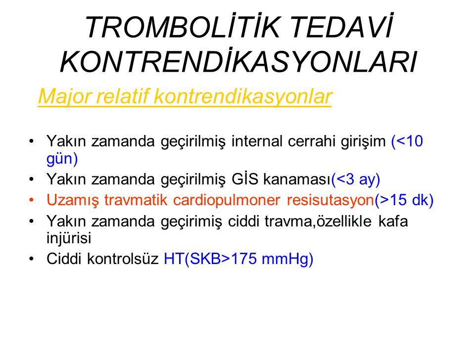 TROMBOLİTİK TEDAVİ KONTRENDİKASYONLARI
