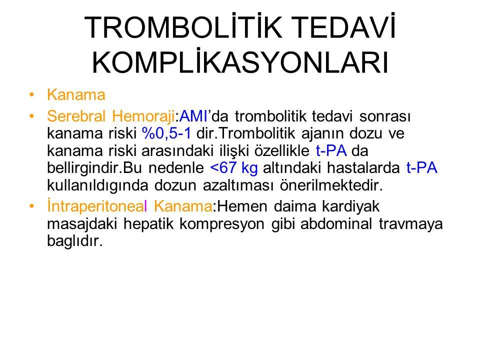 TROMBOLİTİK TEDAVİ KOMPLİKASYONLARI