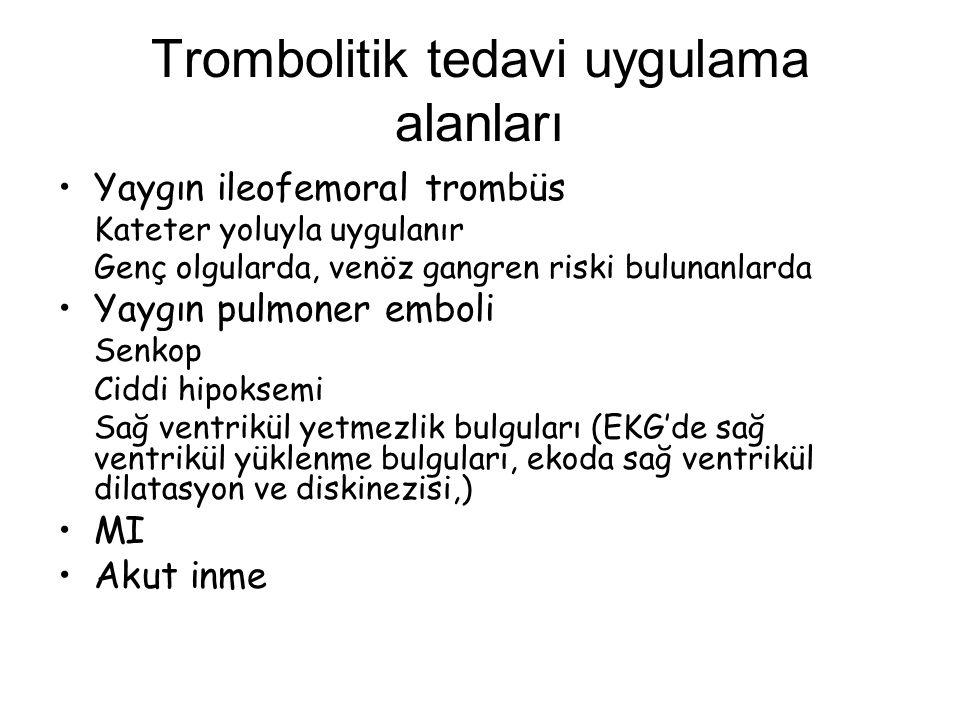 Trombolitik tedavi uygulama alanları