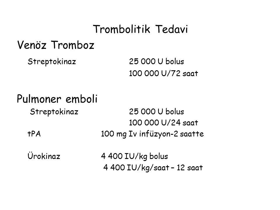 Trombolitik Tedavi Venöz Tromboz Streptokinaz 25 000 U bolus