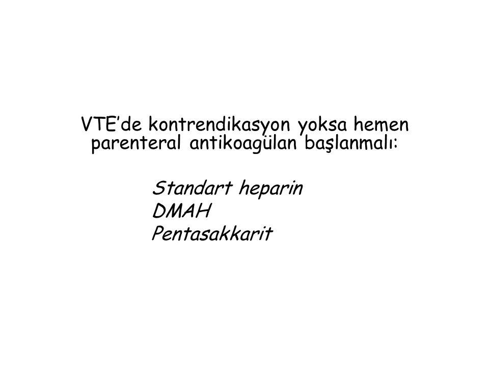 VTE'de kontrendikasyon yoksa hemen parenteral antikoagülan başlanmalı: