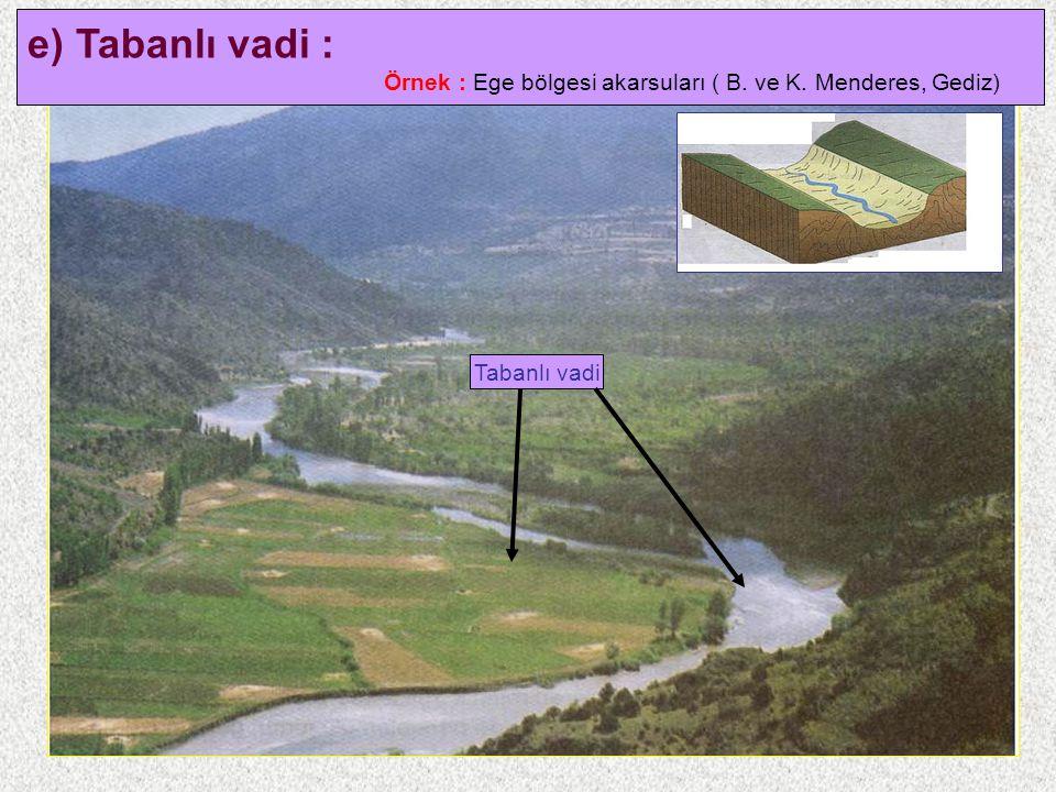 e) Tabanlı vadi : Örnek : Ege bölgesi akarsuları ( B. ve K. Menderes, Gediz) Tabanlı vadi