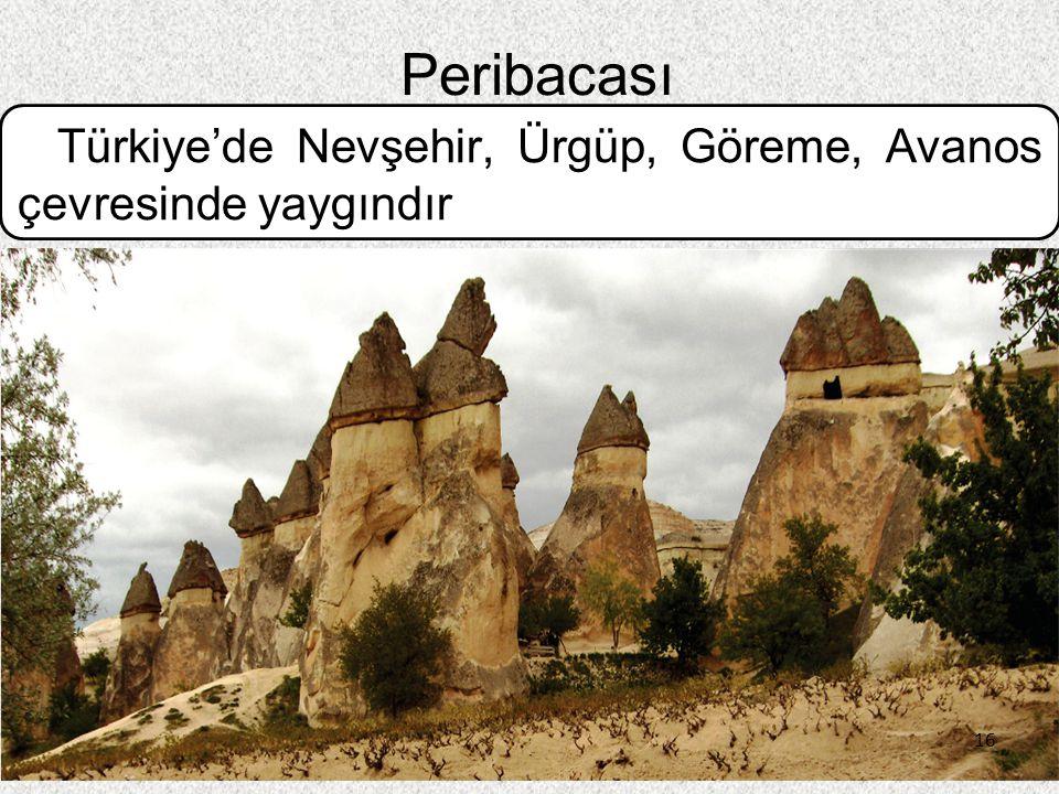 Peribacası Türkiye'de Nevşehir, Ürgüp, Göreme, Avanos çevresinde yaygındır 16