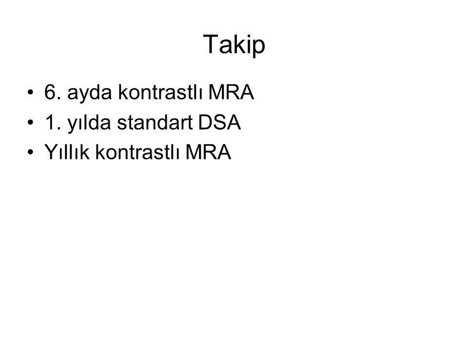 Takip 6. ayda kontrastlı MRA 1. yılda standart DSA
