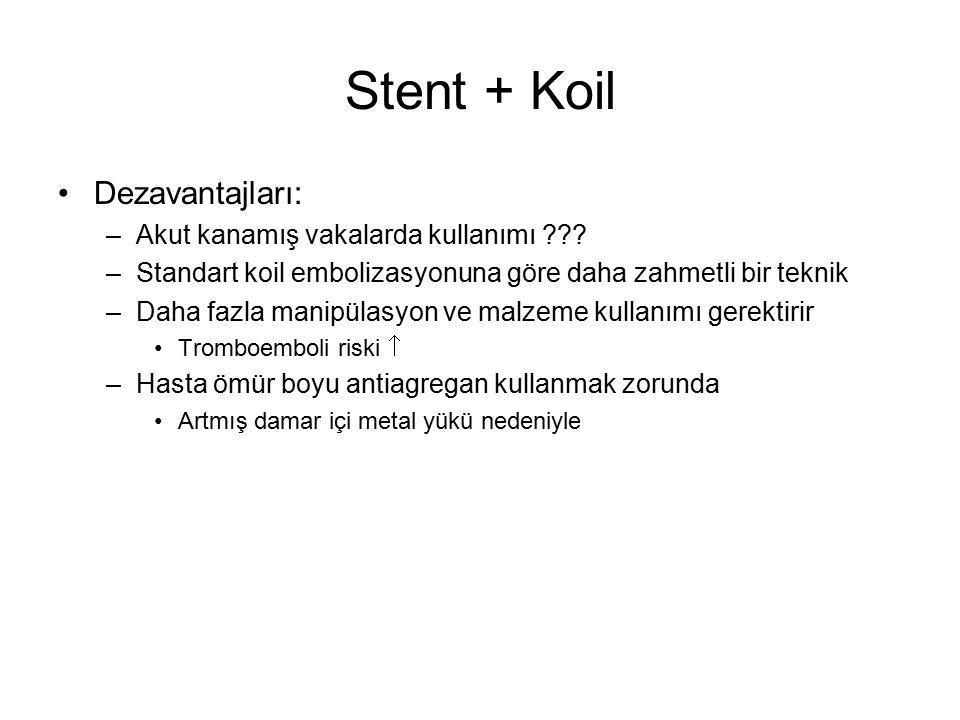 Stent + Koil Dezavantajları: Akut kanamış vakalarda kullanımı