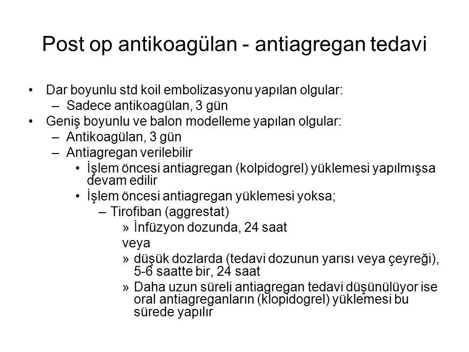 Post op antikoagülan - antiagregan tedavi