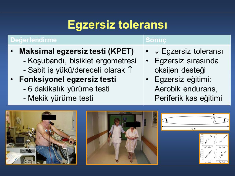 Egzersiz toleransı Maksimal egzersiz testi (KPET)
