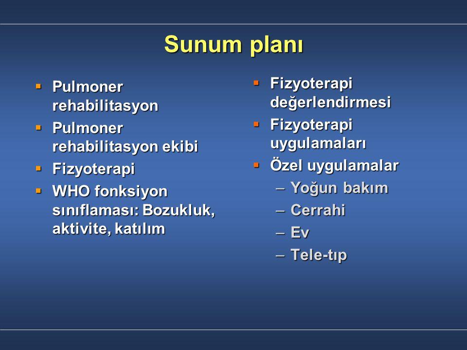 Sunum planı Fizyoterapi değerlendirmesi Pulmoner rehabilitasyon