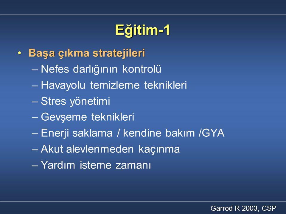 Eğitim-1 Başa çıkma stratejileri Nefes darlığının kontrolü
