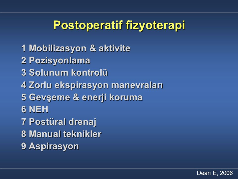 Postoperatif fizyoterapi