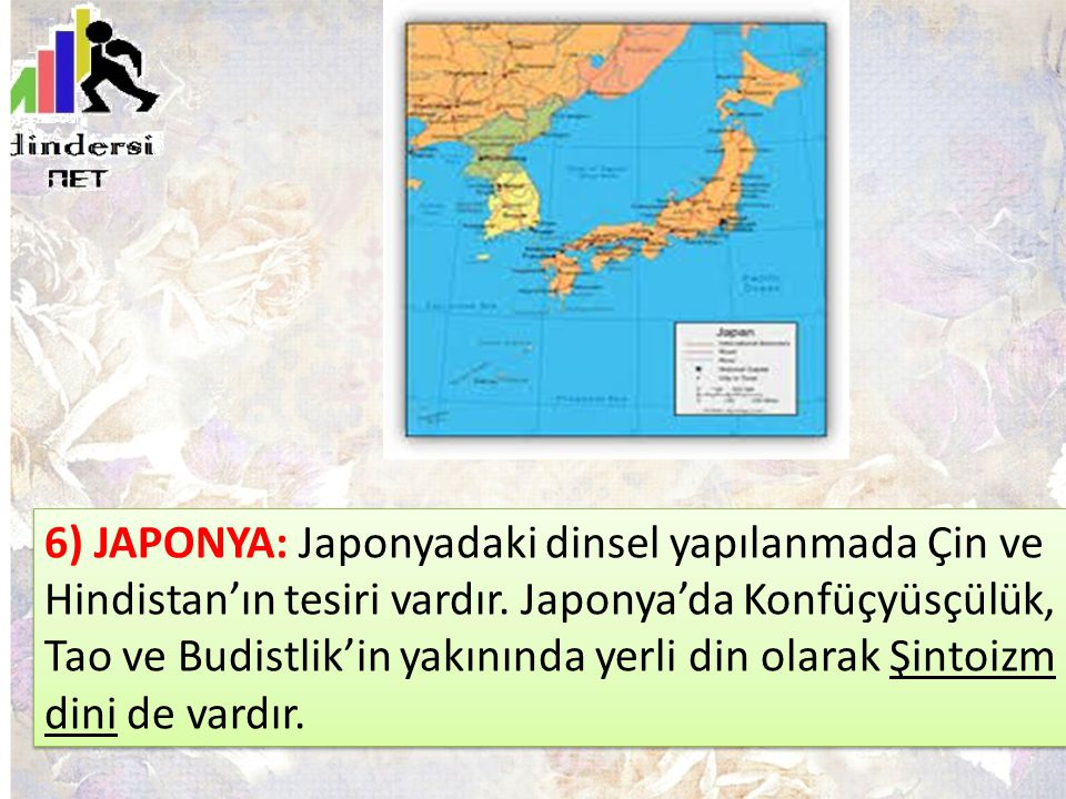 6) JAPONYA: Japonyadaki dinsel yapılanmada Çin ve Hindistan'ın tesiri vardır.