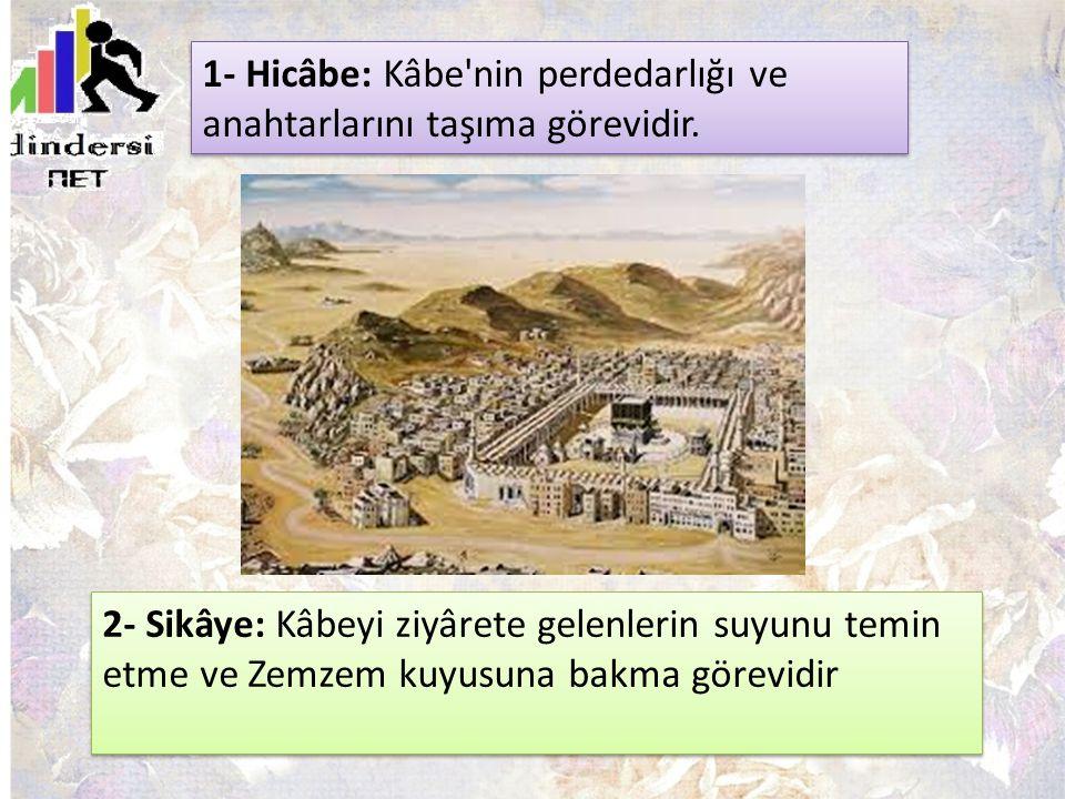 1- Hicâbe: Kâbe nin perdedarlığı ve anahtarlarını taşıma görevidir.
