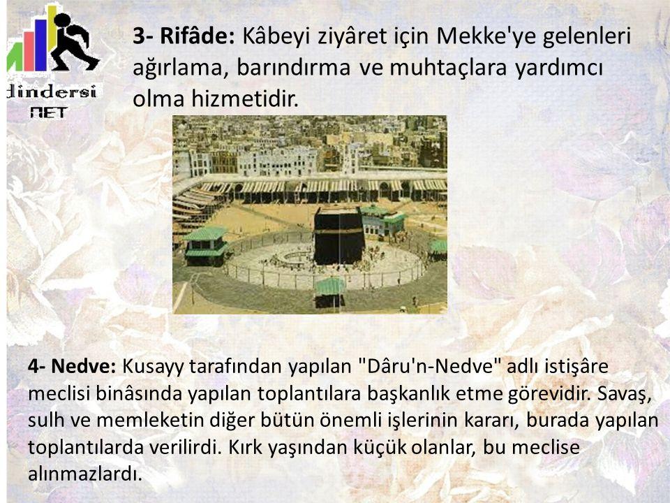 3- Rifâde: Kâbeyi ziyâret için Mekke ye gelenleri ağırlama, barındırma ve muhtaçlara yardımcı olma hizmetidir.