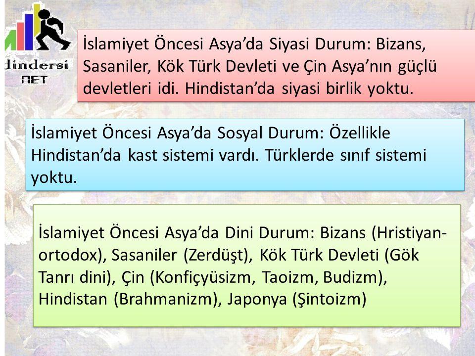 İslamiyet Öncesi Asya'da Siyasi Durum: Bizans, Sasaniler, Kök Türk Devleti ve Çin Asya'nın güçlü devletleri idi. Hindistan'da siyasi birlik yoktu.