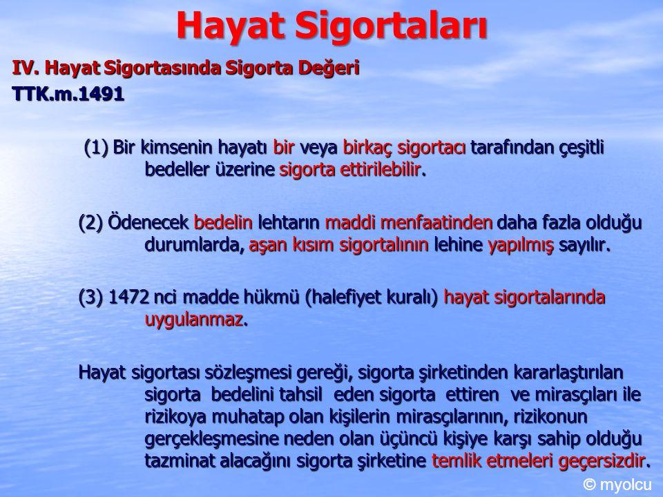 Hayat Sigortaları IV. Hayat Sigortasında Sigorta Değeri TTK.m.1491