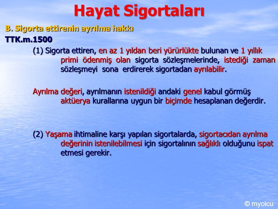 Hayat Sigortaları B. Sigorta ettirenin ayrılma hakkı TTK.m.1500