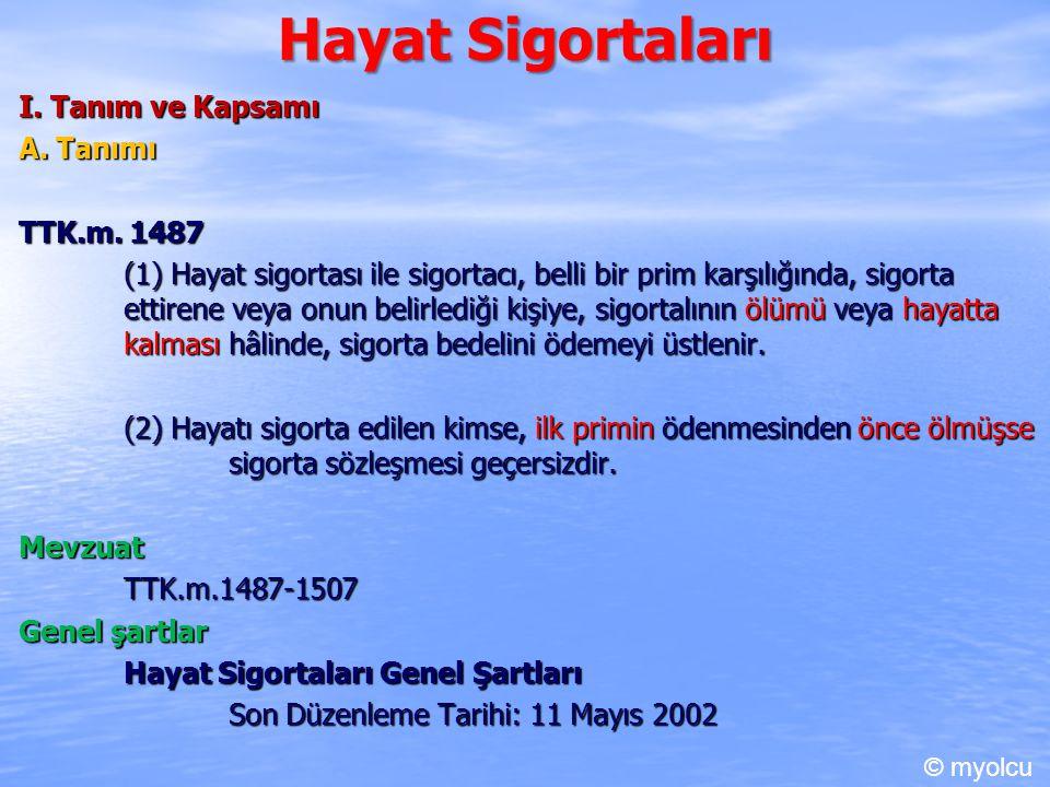Hayat Sigortaları I. Tanım ve Kapsamı A. Tanımı TTK.m. 1487