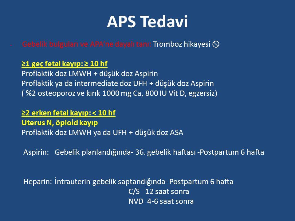 APS Tedavi ≥1 geç fetal kayıp: ≥ 10 hf