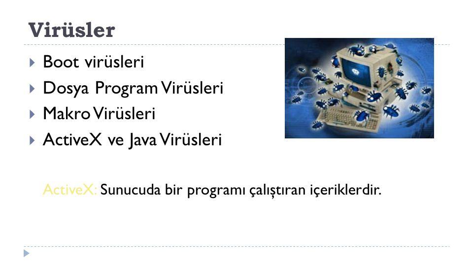 Virüsler Boot virüsleri Dosya Program Virüsleri Makro Virüsleri