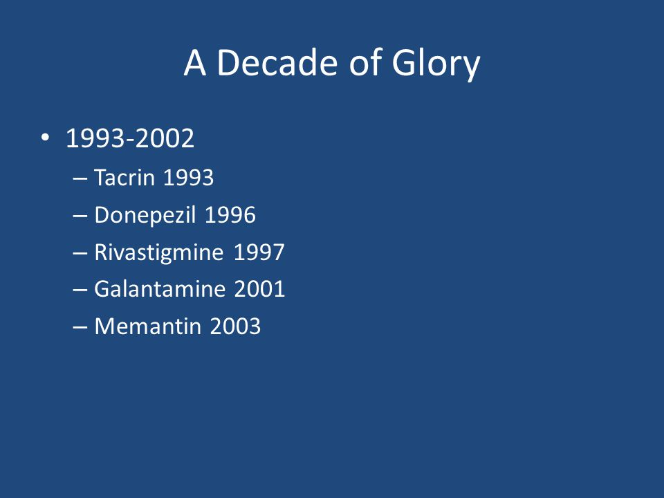A Decade of Glory 1993-2002 Tacrin 1993 Donepezil 1996
