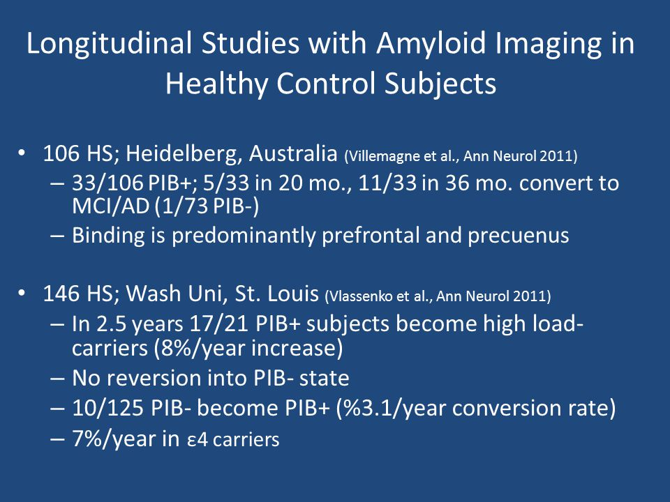 Longitudinal Studies with Amyloid Imaging in Healthy Control Subjects