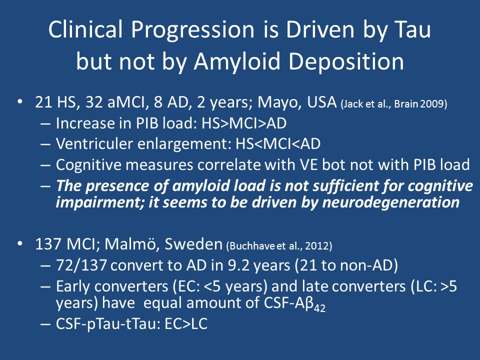 Clinical Progression is Driven by Tau but not by Amyloid Deposition