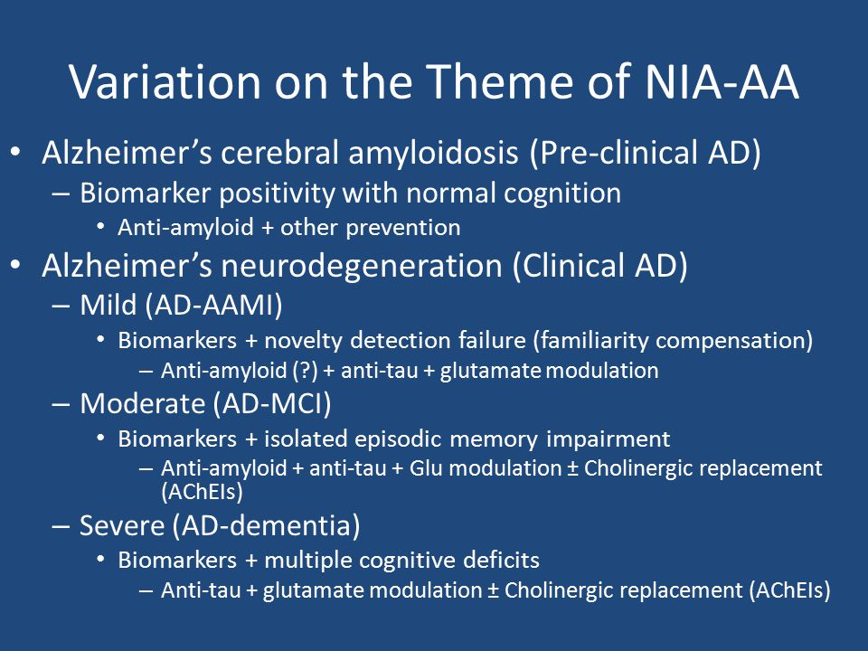 Variation on the Theme of NIA-AA