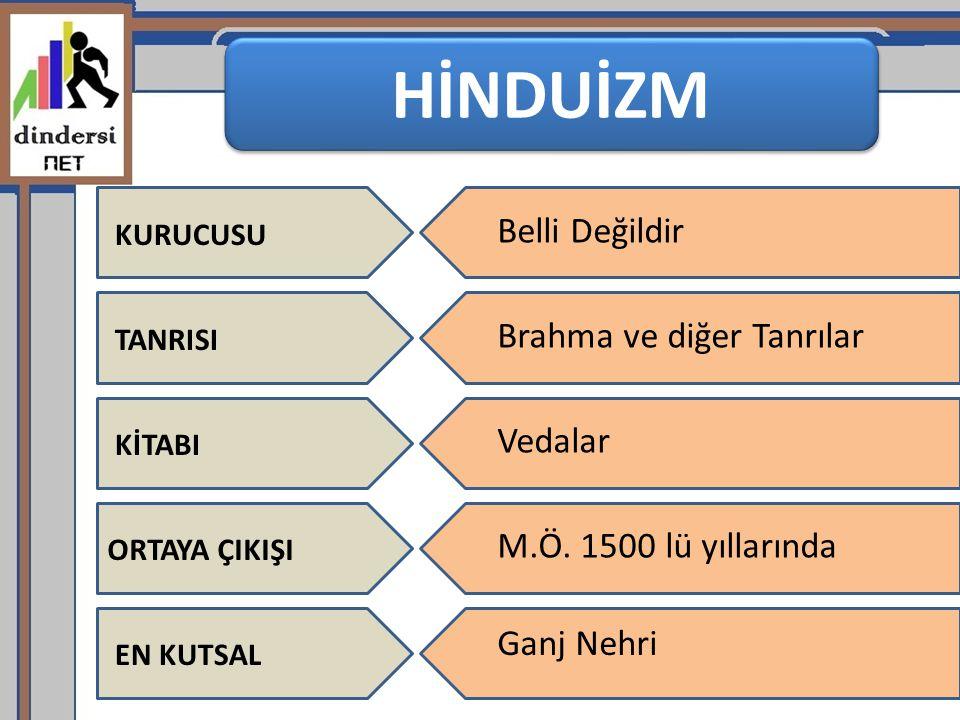 HİNDUİZM Belli Değildir Brahma ve diğer Tanrılar Vedalar