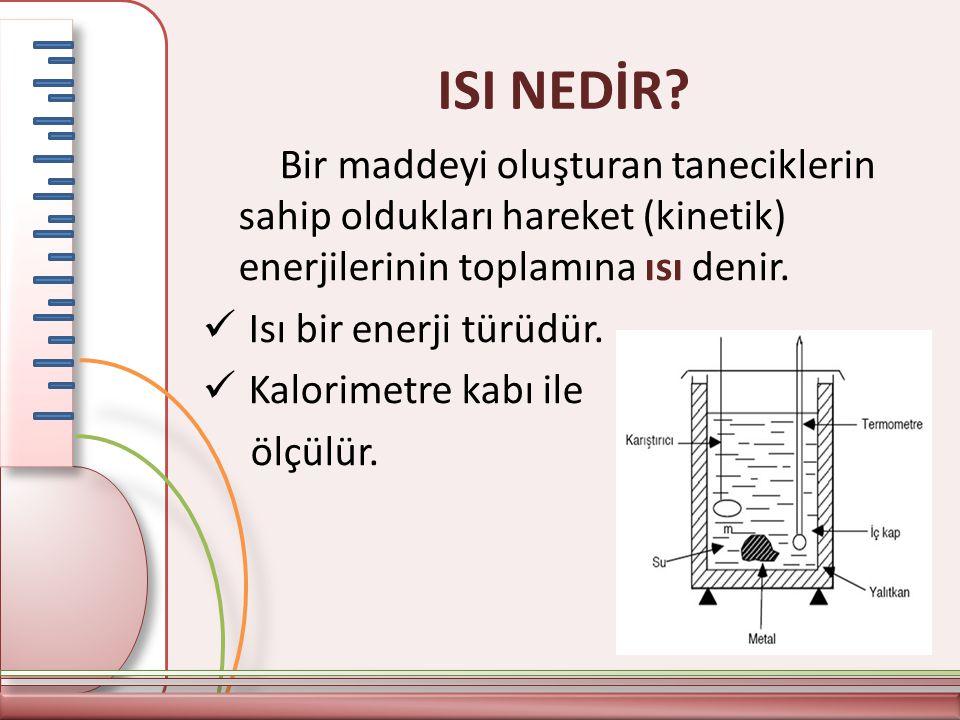 ISI NEDİR Bir maddeyi oluşturan taneciklerin sahip oldukları hareket (kinetik) enerjilerinin toplamına ısı denir.