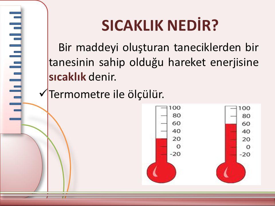 SICAKLIK NEDİR Bir maddeyi oluşturan taneciklerden bir tanesinin sahip olduğu hareket enerjisine sıcaklık denir.