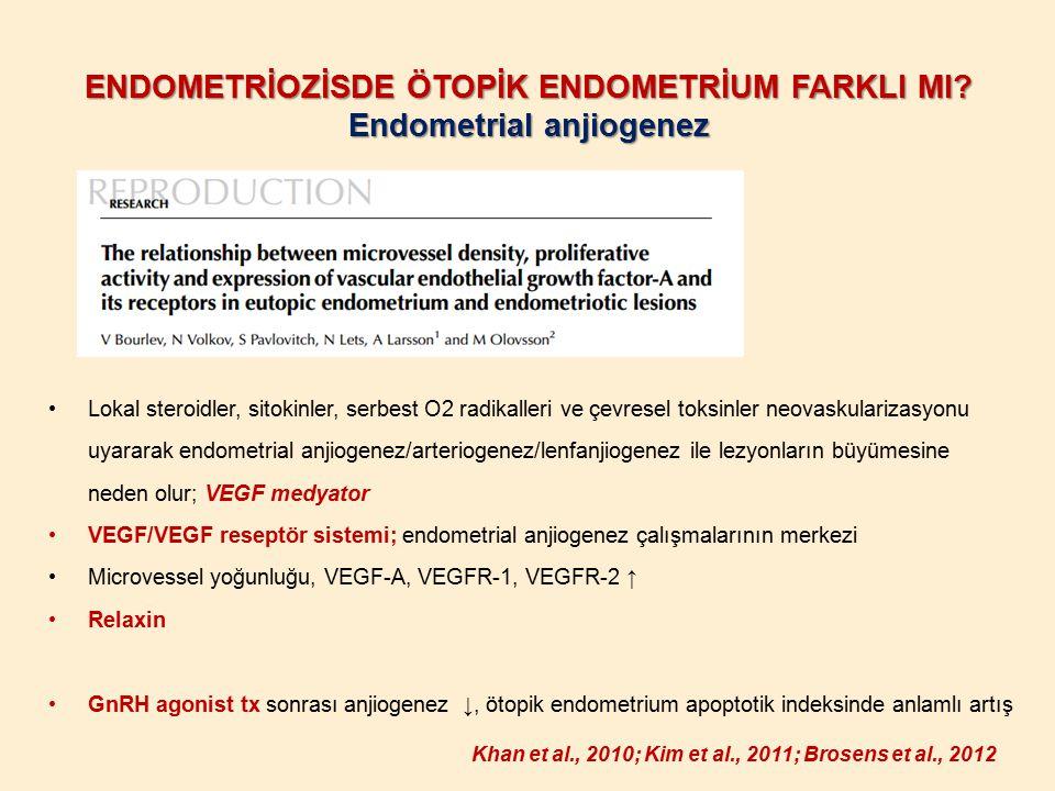 ENDOMETRİOZİSDE ÖTOPİK ENDOMETRİUM FARKLI MI Endometrial anjiogenez