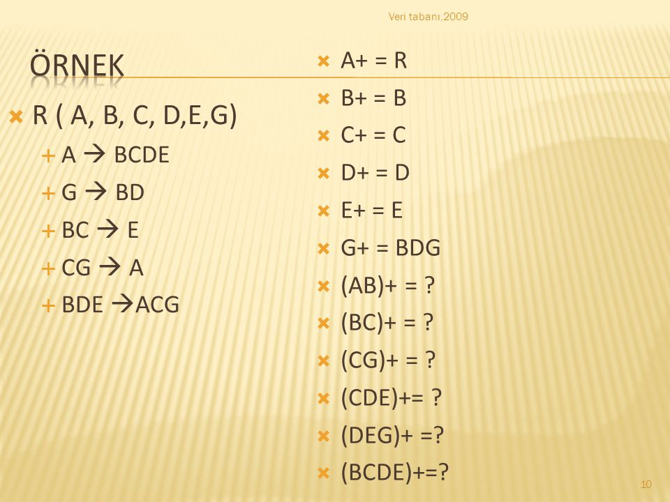 örnek R ( A, B, C, D,E,G) A+ = R B+ = B C+ = C D+ = D A  BCDE E+ = E