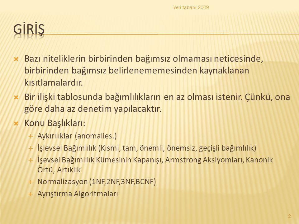 Veri tabanı,2009 Gİrİş.