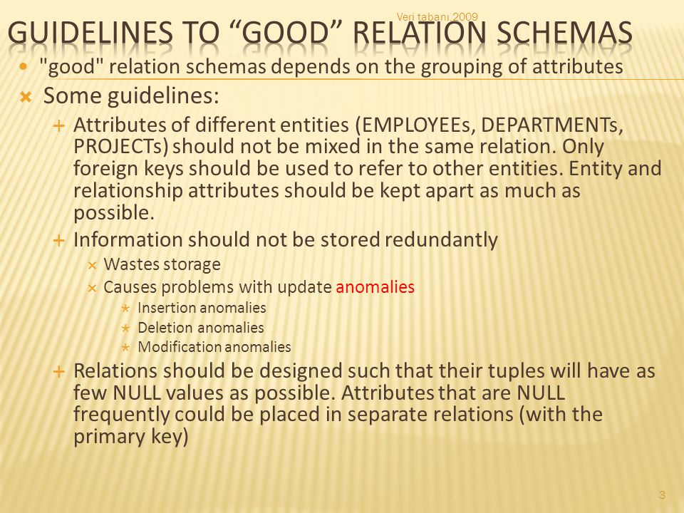 Guidelines to good relation schemas