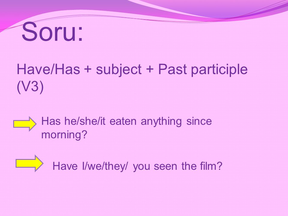 Soru: Have/Has + subject + Past participle (V3)