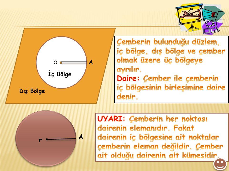 Daire: Çember ile çemberin iç bölgesinin birleşimine daire denir.